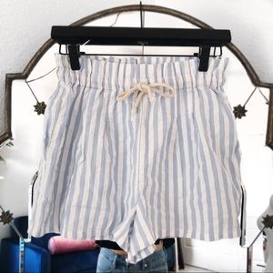 Urban outfitters blue white stripe high rise short